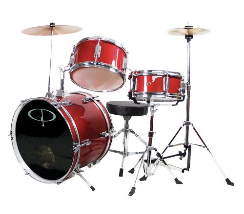 GP Percussion GP50RD Complete Junior Drum Set (Red, 3-Piece Set)