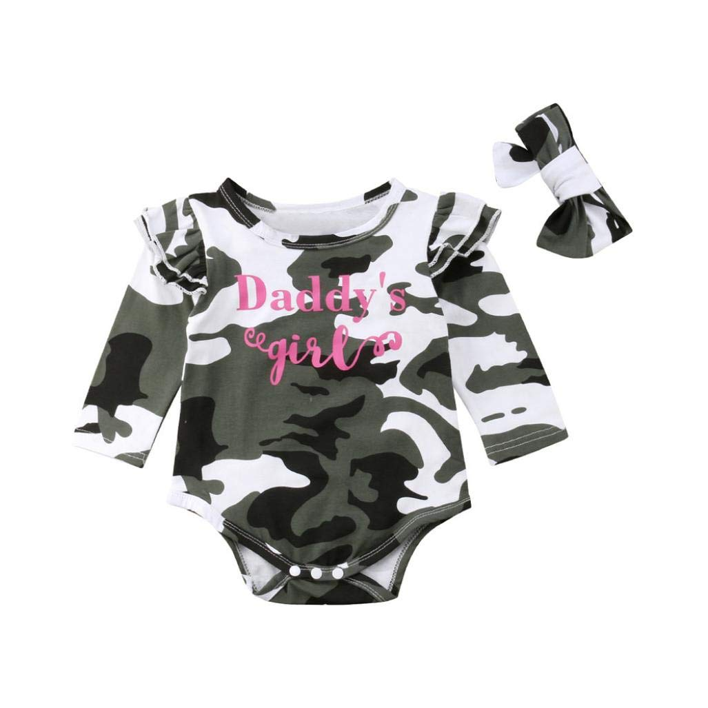 WARMSHOP No Shipping Newborn Infant Baby Girl Letter Print Ruffle Long Sleeve Camo Romper Jumpsuit Headband Clothes Set
