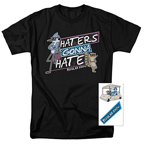 Popfunk Regular Show Haters Gonna Hate T Shirt & Exclusive Stickers (Large)