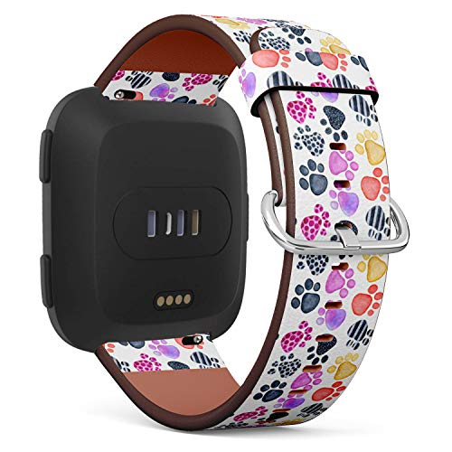 Cute Colorful Animal Footprint - Patterned Leather Wristband Strap Compatible with Fibit Versa,Replacement for Versa Watch Band
