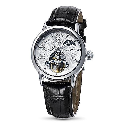 Time100 Relojes de Hombres mecánicos automáticos Huecos multifuncionales con Luna y Sol: Amazon.es: Relojes