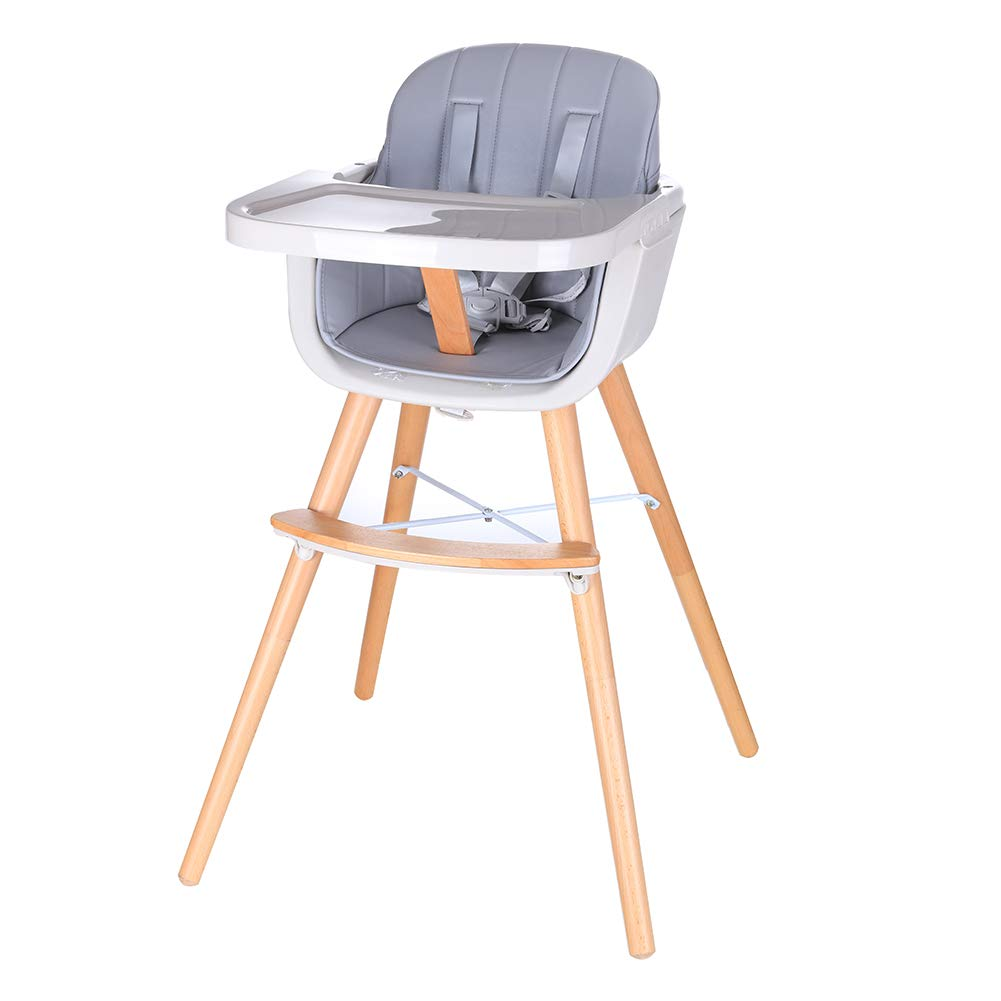 Foho Baby High Chair, Perfect 3 in 1 Convertible Wooden High Chair with Cushion, Removable Tray, and Adjustable Legs for Baby & Toddler, Grey by Foho