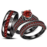 ArtLine Jewels His Her Matching Engagement Ring Wedding Band Round Red Garnet Trio Set 14K Black Gold