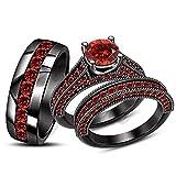 ArtLine Jewels His Her Matching Engagement Ring Wedding Band Round Red Garnet Trio Set 14K Black Gold