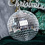 BalsaCircle 4 pcs 6-Inch Silver Glass Hanging Party Disco Mirror Balls Wedding Birthday Home Decorations Christmas Ornaments