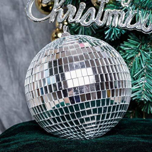 BalsaCircle 4 pcs 6-Inch Silver Glass Hanging Party Disco Mirror Balls Wedding Birthday Home Decorations Christmas Ornaments