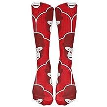 Egg Egg Fashion Red Monkey Head Sports Stocking Crew Socks Athletic Long Socks For Women & Men