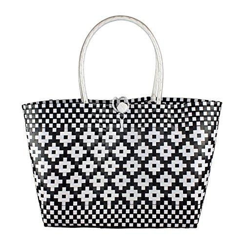 Plastic woven bag, handmade woven bag, woven beach tote, woven tote bag, beach bag, made from Recycled Material, Handwoven plastic shoulder bag- Style - Beach Stores Newport