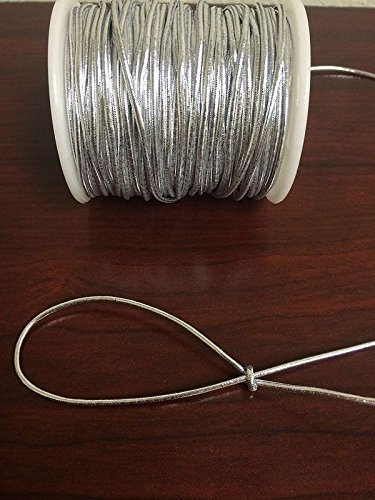 Beading Cord Tinsel Threads Metallic Elastic Stretch Tie Cords Trim Jewelry Cord Fibers Wire Crafts Embellishments Ribbons Bows 1.5mm x 50 Yards (150 FT) 1 Pcs (Silver)