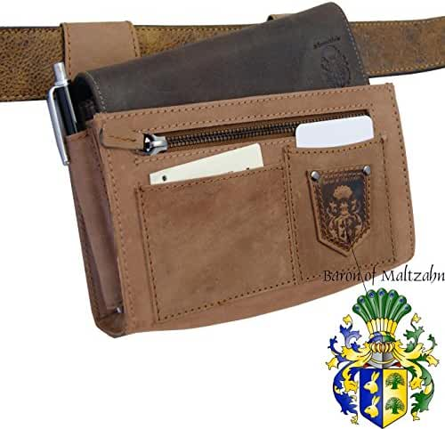 BARON of MALTZAHN Leather Belt Holster GAMMA for Waiter's Purse - brown leather