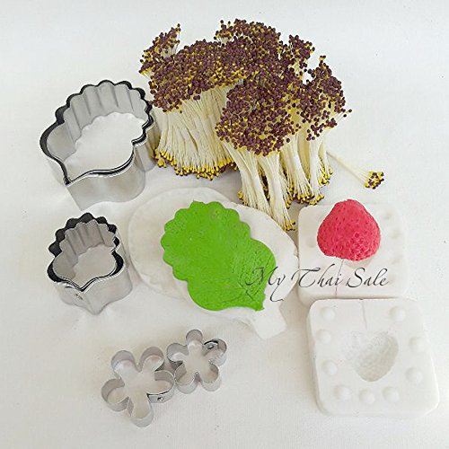 Set of Silicone veiner Strawbery Leaf and Berry 6 cutters and 4800 Heads Stamens for gumpaste,cake decorating, chocolate, sugarcraft, Polymer Clay by My Thai Molds