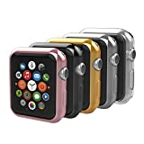 Anjoo [5-Pack] Apple Watch 42mm Case, iPhone Watch Slim TPU All-around Protective Clear Cover Case for iWatch 42mm Apple Watch Series 2 and Series 3 - Rose Gold, Gold, Silver, Transparent, Black