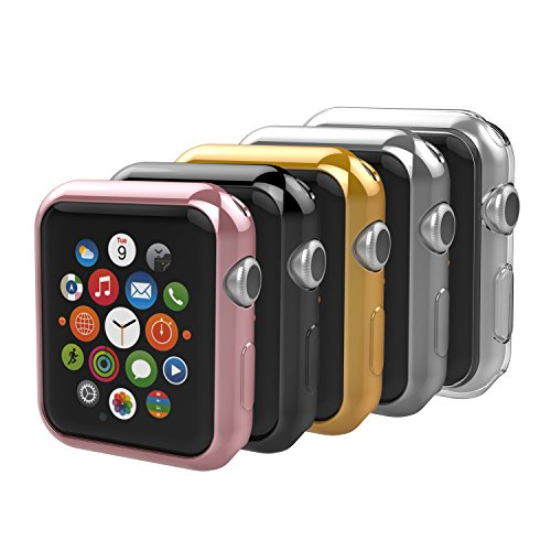 [5-Pack] Apple Watch 38mm Case, Anjoo iPhone Watch Slim TPU All-around Protective Clear Cover Case for iWatch 38mm Apple Watch Series 2 and Series 3 - Rose Gold, Gold, Silver, Transparent, Black by Anjoo