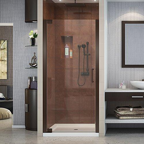 DreamLine Elegance 34-36 in. Width, Frameless Pivot Shower Door, 3/8'' Glass, Oil Rubbed Bronze Finish by DreamLine