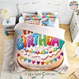 Homenon Bedding 4 Piece Sheet,Cartoon Happy Birthday Party Image Cake Candles Hearts Print,Multicolor,Full Size,Suitable for Families,Hotels