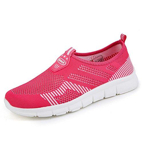 Hasag Nuevos Zapatos Deportivos Femeninos de Verano Zapatos Antideslizantes de Mamá Suave Fondo Zapatos de Malla Ocasionales Cómodos Zapatos Transpirables de Red Rose