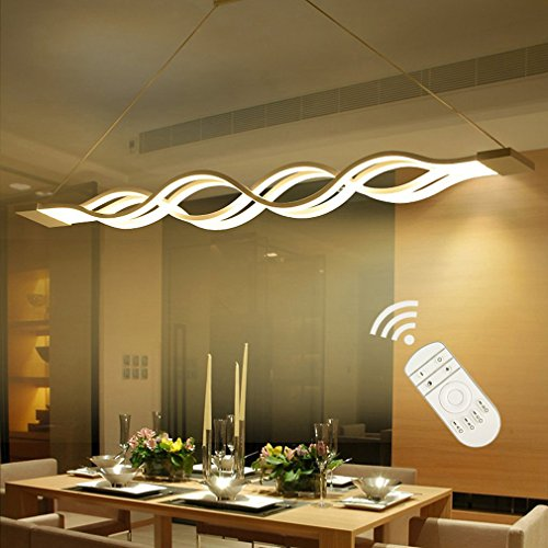 KOONTING Modern LED Pendant Light Chandelier Ceiling Lighting Fixture Aluminum+PMMA 60W Dimmable 2700K~6000K with Remote Controller