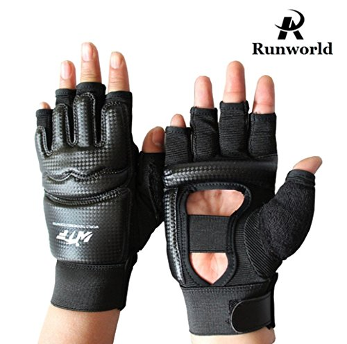 Runworld Men Kids Taekwondo Gloves Punch Bag Boxing Martial Arts MMA Sparring Grappling Muay Thai Training PU Leather Wrist Wraps Gloves (Black, (Leather Wrap Mma Gloves)