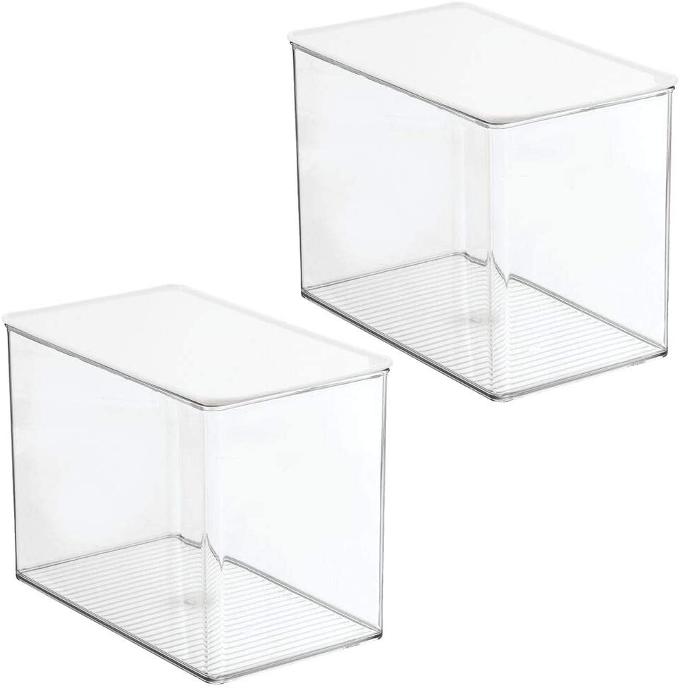 mDesign Plastic Stackable Kitchen Pantry Cabinet or Refrigerator Food Storage Container Bin Box with Lid - Organizer for Snacks, Produce, Pasta - Deep Container - 2 Pack - Clear/White Lid