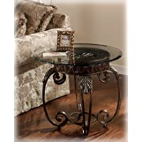 Signature Design by Ashley Antique Brass Round End Table