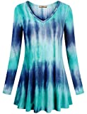Miusey Tunic Shirt for Women, V Neck Long Sleeve Flared Dresses Flowy Loose Fit to Wear with Leggings Casual Tunic Tops Blue Green Medium