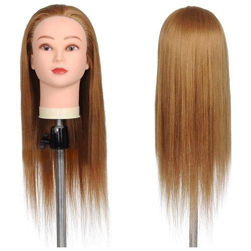 "24"" Mannequin Head w/ 50% Real Human Hair & Holder"