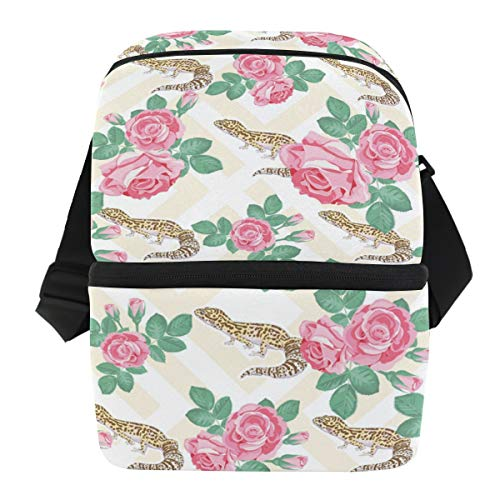 - Insulated Lizard Albino Leopard Gecko Lunch Cooler Bag for Work Beach Picnic Camping, Double Deck Cooler
