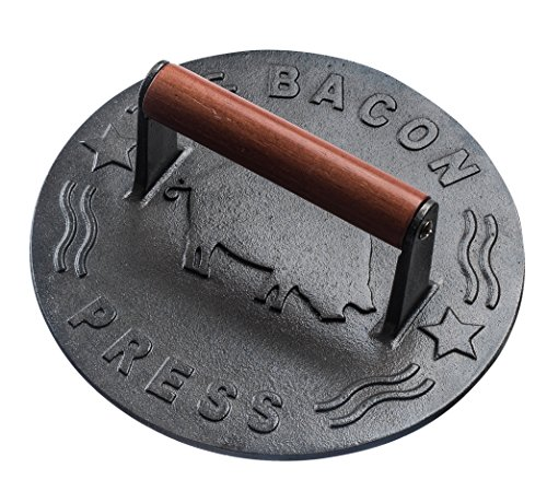Bellemain Cast Iron Grill Press, Heavy-duty bacon press with Wood Handle, 8.75-Inch Round ()