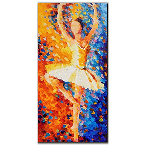 Yika Art Paintings, 24x48 Inch Abstract Painting 3D Hand-Painted On Canvas Wall Decoration for Living Room Bedroom Hallway Office Ready to Hang - Beautiful Ballerina/Ballet Dancer in Oil Painting