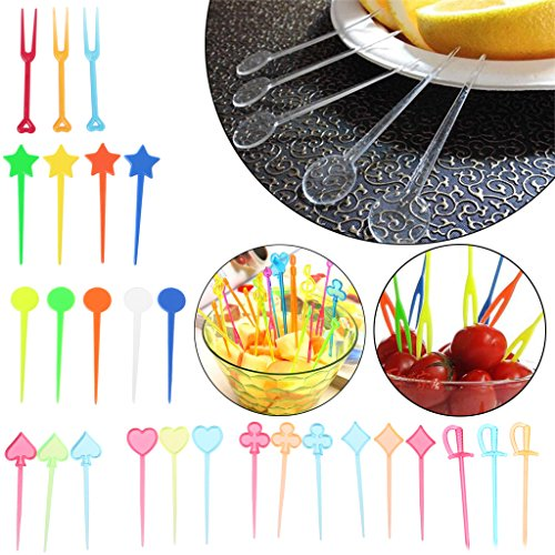 Cicitop Multi Colour Plastic Cartoon Food Sticks, Suitable for Picking Sandwich, Fruit, Snacks on the Occasion of Celebration, 200 Pcs/250 Pcs/300Pcs. (Poker Shape 200 Pcs)
