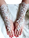YuRong Wedding Gloves Bridal Gloves Pearl Lace Gloves Fingerless A02 (Ivory)