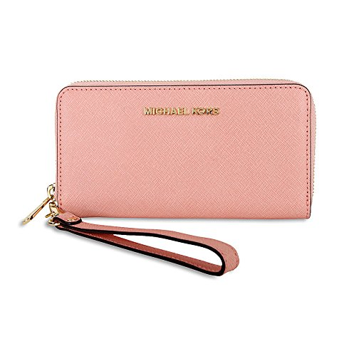 434b76a666a7 Cheap Michael Kors Specchio Jet Set Travel Large Flat Multifunction Wallet  pale pink/Gold