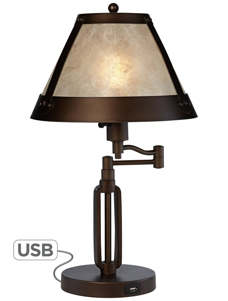 Samuel Swing Arm Desk Lamp with Mica Shade and USB Port by Franklin Iron Works