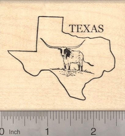 State of Texas Rubber Stamp with Longhorn Steer