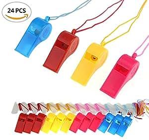 BeautyMood 24Pcs Neon Plastic Whistle Necklaces on Nylon Braided Cord by BeautyMoodTako
