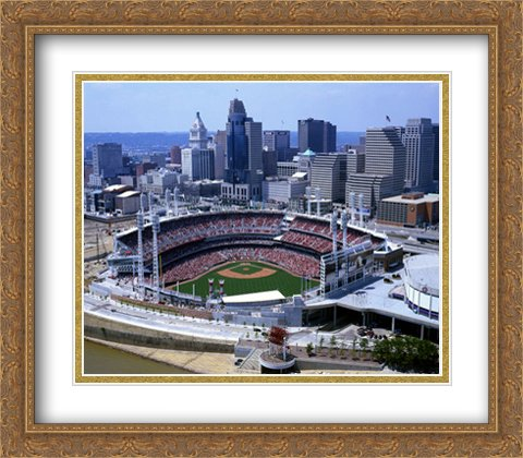 - Great American Ballpark 2X Matted 28x28 Large Gold Ornate Framed Art Print from The Stadium Series