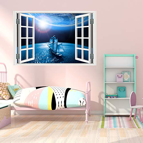 (WOCACHI Wall Stickers Decals 3D Full Colour High Definition Nature Scenery False Faux Window Frame Wall Decals Art Mural Wallpaper Peel & Stick Removable Room Decoration Nursery)