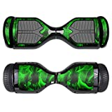 MightySkins Protective Vinyl Skin Decal for Swagtron T1 Hover Board Self Balancing Smart Scooter wrap cover sticker skins Green Flames