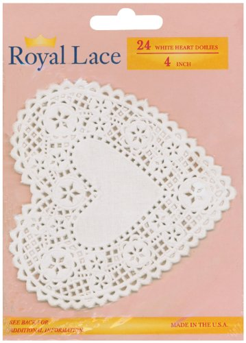 Royal Lace Paper Doilies, 4-inch, Heart 24 Per Package
