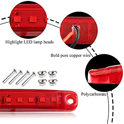 Teguangmei 10Pcs 12-24V 3.9'' Thin Red Led Side Marker Indicator Lights 9LED Waterproof for Trailer Clearance Lights Truck Position Lights Lorry Warning Lights: Automotive