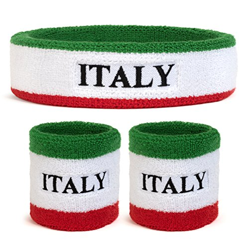 Suddora Italy Country Headband & Wristbands Set (Includes 2 Wrist & 1 Head Sweatband)