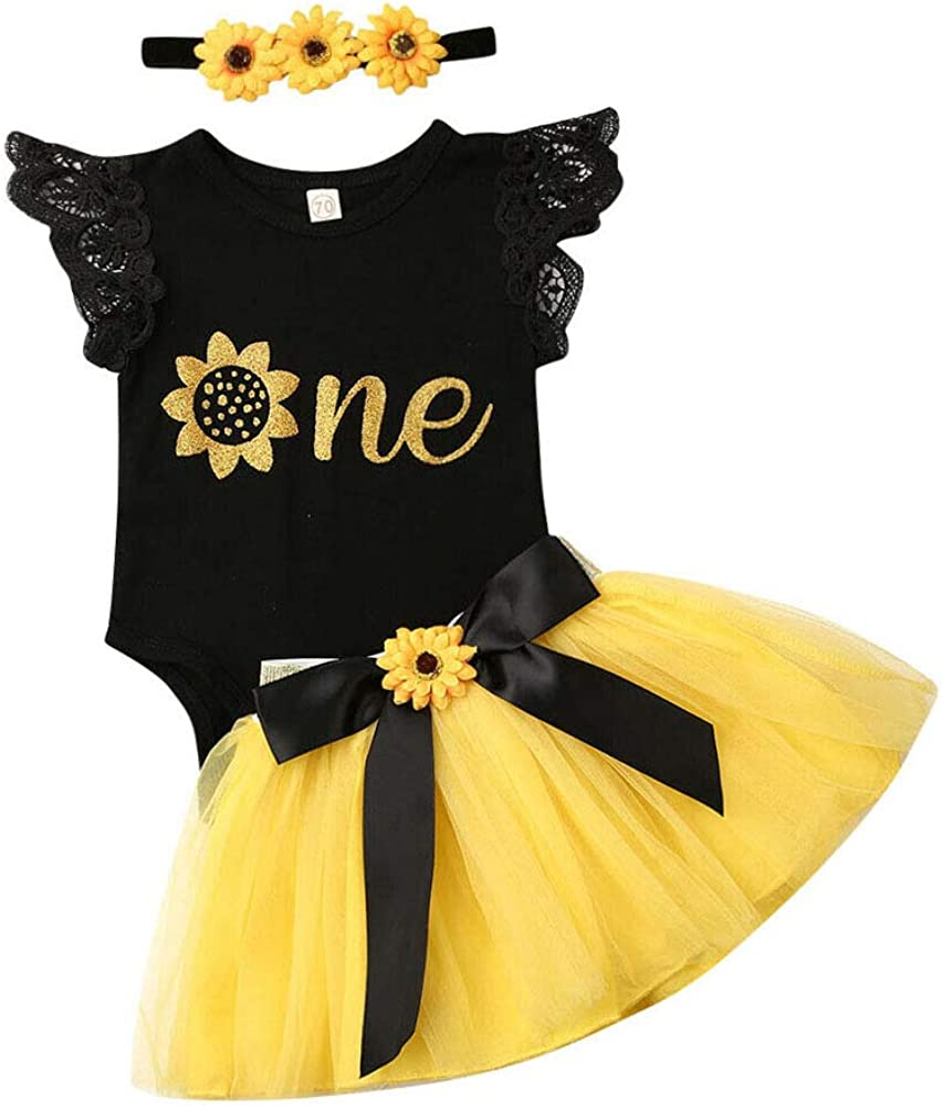 Baby Girls 1st Birthday Sunflower Dress Outfits Wild One Bodysuit Top and Tutu Skirts