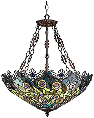New Legend Tiffany Style Stained Glass Peacock Feather 3-Light Hanging Lamp Ceiling Fixture TL16020, 22-Inch wide
