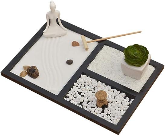 Hjyi Meditación Zen Garden,Jardin Zen Figura Adorno De Mesa De Arena De MontañA Seca De Micro-Paisaje Zen De Estilo JaponéS Autocultivo, Cultura Zen, Incensario.: Amazon.es: Hogar