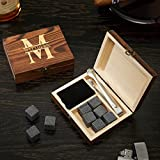 Oakmont Custom Engraved Whiskey Stones Set & Gift Box by HomeWetBar, 11 pc set includes 9 stones, velvet pouch, and custom gift box   Perfect for Executive Holiday Gifts or Wedding Party Gifts