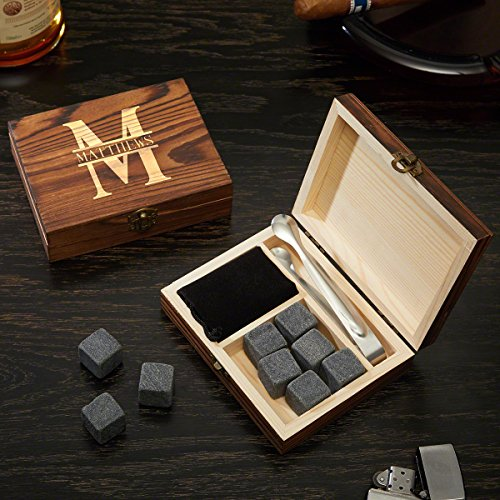 Oakmont Custom Engraved Whiskey Stones Set & Gift Box by HomeWetBar, 11 pc set includes 9 stones, velvet pouch, and custom gift box | Perfect for Executive Holiday Gifts or Wedding Party Gifts