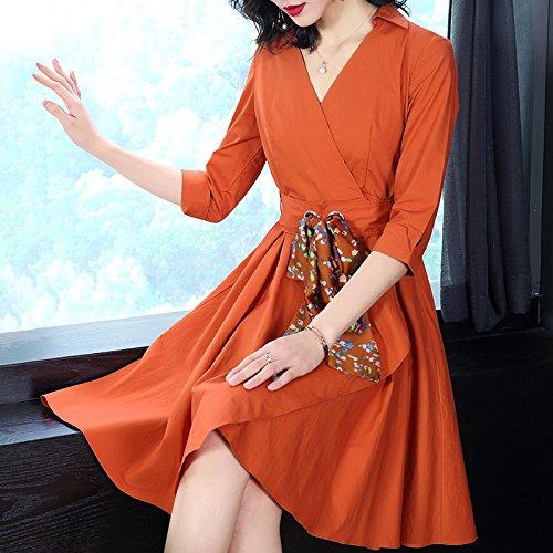 Vestido De Algodón Cintura orange ZHUDJ Slim Slim Fina Verano wYRRIqp