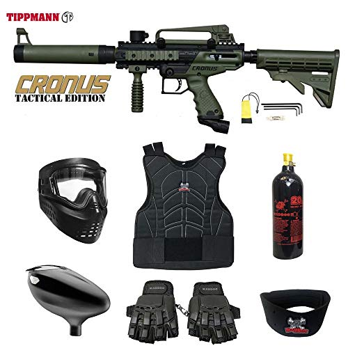 Paintball Complete - MAddog Tippmann Cronus Tactical Beginner Protective CO2 Paintball Gun Package - Black/Olive