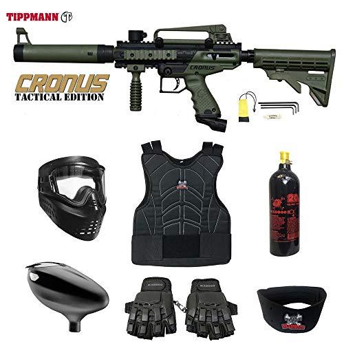 MAddog Tippmann Cronus Tactical Beginner Protective CO2 Paintball Gun Package - Black/Olive ()