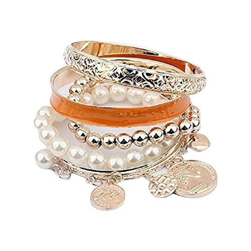 Korean Coin Set - Ikevan 1 Sets Women Bracelet Korean Style Exquisite Coin Pearl Hollow Bracelet Jewelry Multilayer Bangle Wrap Cuff Gift for Women Girls (Orange)